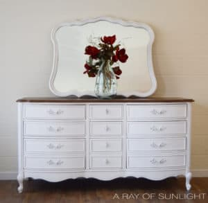 Dixie Furniture White French Provincial Dresser Two Toned with Dark Stained Top and Matching Mirror by A Ray of Sunlight