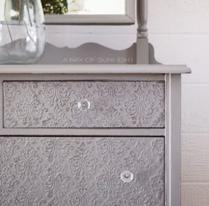 Empire Gray General Finishes with Country Chic Embossed Drawers using Texture Powder and Dark Roast Paint by A Ray of Sunlight