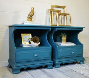 End Tables refinished in Annie Sloan Florence and Aubusson Blue Layered by A Ray of Sunlight