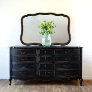 French Provincial 9 Drawer Dresser Painted Black with Large Ornate Mirror Farmhouse Modern by A Ray of Sunlight