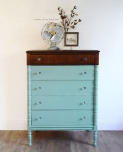 Highboy 5 Drawer Dresser Minty Teal Country Chic Paint Happy Hour Jitterbug Custom Furniture by A Ray of Sunlight