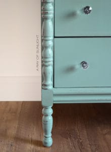 Highboy 5 Drawer Dresser Minty Teal Country Chic Paint Happy Hour and Jitterbug Dipped Stain Custom Furniture by A Ray of Sunlight