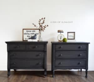 His and hers mismatch overized nightstands or dressers in deep grey with black antiquing by A Ray of Sunlight