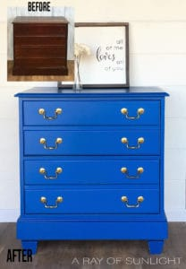Bright Blue Changing Table Dresser Before and After by A Ray of Sunlight