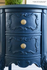 Ornate Antique Desk and Chair in Country Chic Paint Navy Blue with Antiqued Brass Hardware by A Ray of Sunlight