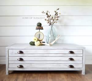 Print Maker Restoration Hardware Inspired Industrial White Coffee Table Living Room