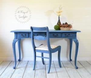 Royal Cobalt Blue Vintage Desk with Glaze Refinished by A Ray of Sunlight