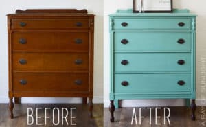 Teal Paint Dipped Highboy Dresser by A Ray of Sunlight Before and After