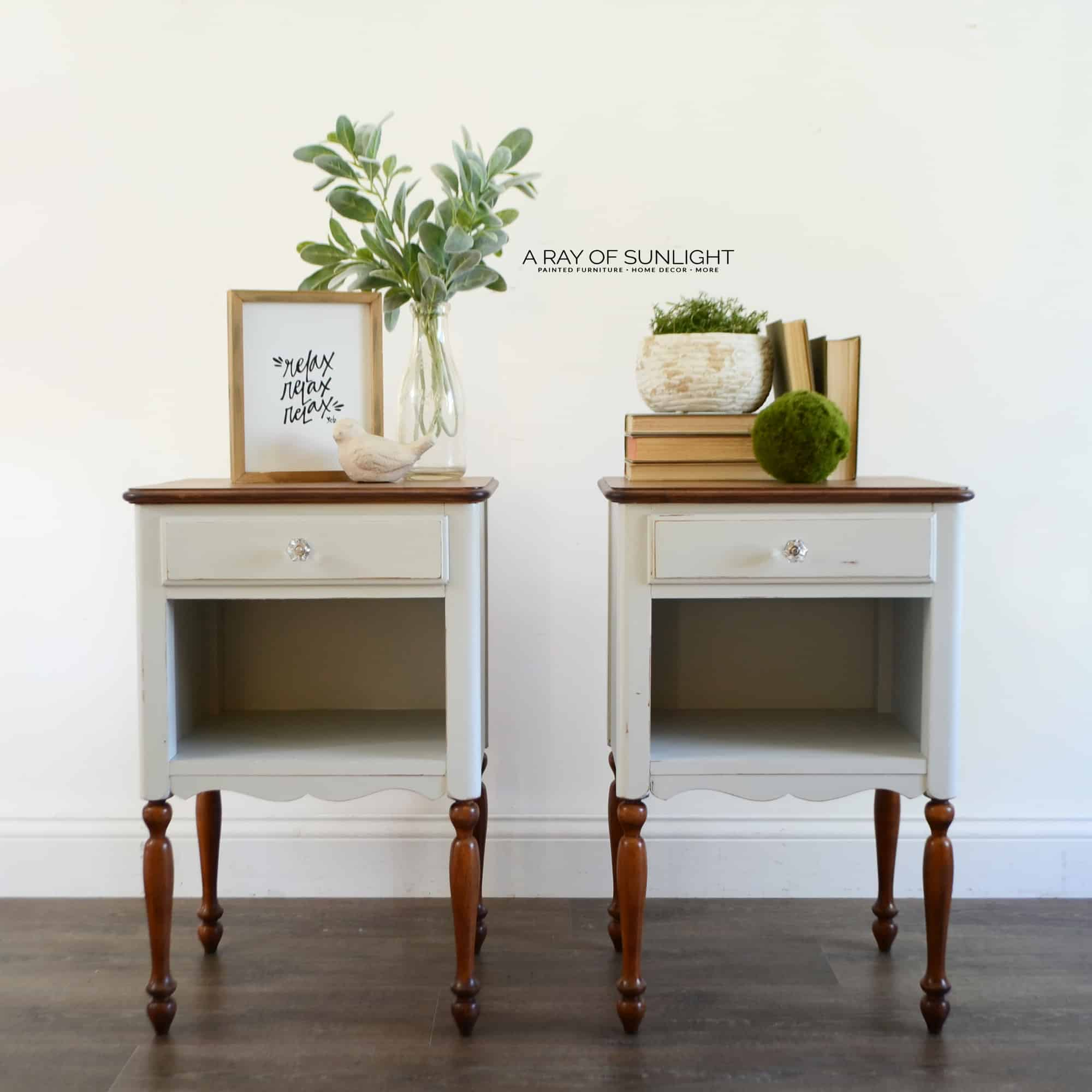 How To Restain Wood Light Gray Nightstand Makeover