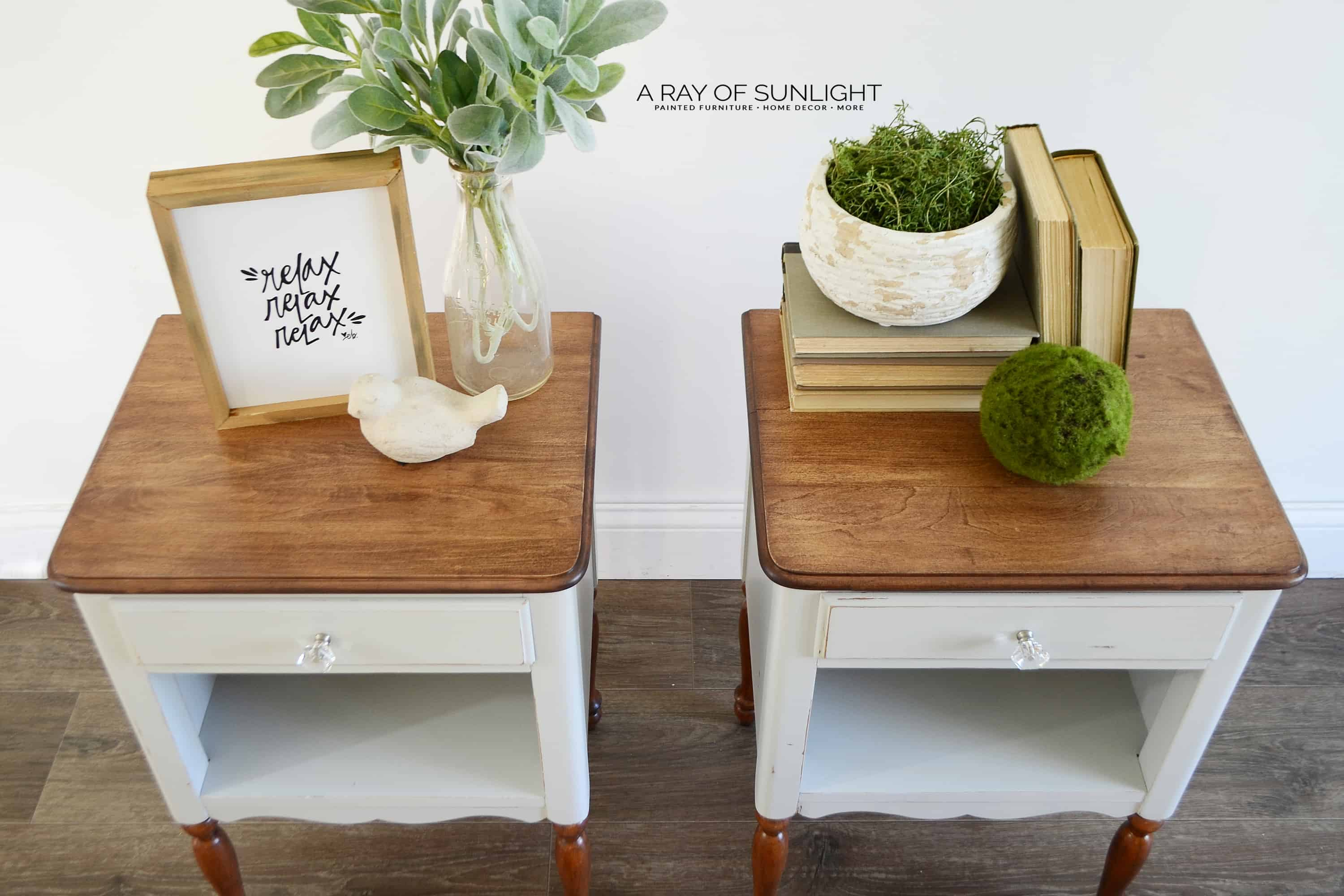The Light Grey Farmhouse Nightstands by A Ray of Sunlight | These matching grey tall nightstands are adorable with their freshly stained legs and tops. I can see them in any bedroom or living room for extra storage! #paintedfurniture #farmhousefurniture #graytables #countrychicpaint