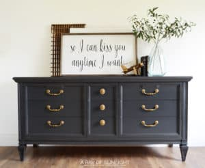 This Dark Grey MCM Dresser with Gold Hardware is the perfect neutral grey for any room in your home. It will be great as a dresser, TV stand, Bathroom Vanity