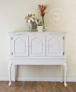Vintage Buffet with Long Legs and Storage Cabinet Space Refinished White by A Ray of Sunlight