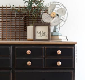 Vintage Dresser Painted Black with Gold Knobs and Rustic Wood Top