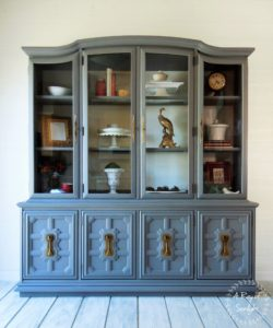 Vintage Grey China Cabinet with Antique Brass Hardware by A Ray of Sunlight