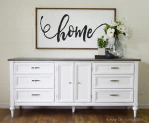 Vintage Modern Farmhouse Dresser with a Faux Weathered Wood Top and Pure White bottom by A Ray of Sunlight