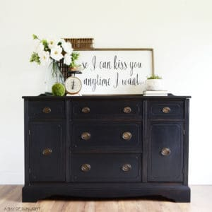 Weathered Black Restoration Hardware Inspired Vintage Painted Buffet by A Ray of Sunlight 1