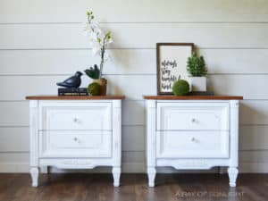 White Farmhouse End Tables or Nightstands with Antique Walnut Stained Tops and Glass Knobs by A Ray of Sunlight
