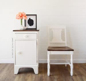 White Farmhouse Nightstand with Matching Chair Stained Walnut Tops by A Ray of Sunlight