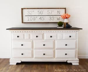 White Glazed Dresser with Rustic Wood Top Painted by A Ray of Sunlight