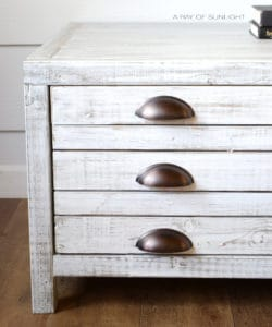 White washed farmhouse coffee table with bin pulls A Ray of Sunlight