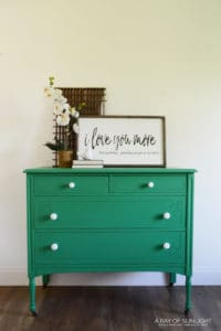 bright green antique dresser with white knobs by A Ray of Sunlight