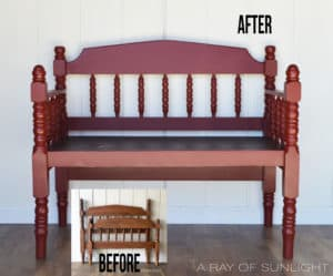 Red Bench made from a vintage twin headboard by A Ray of Sunlight - Before and After