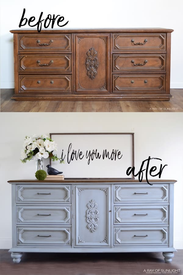 before and after of dresser with new bun feet