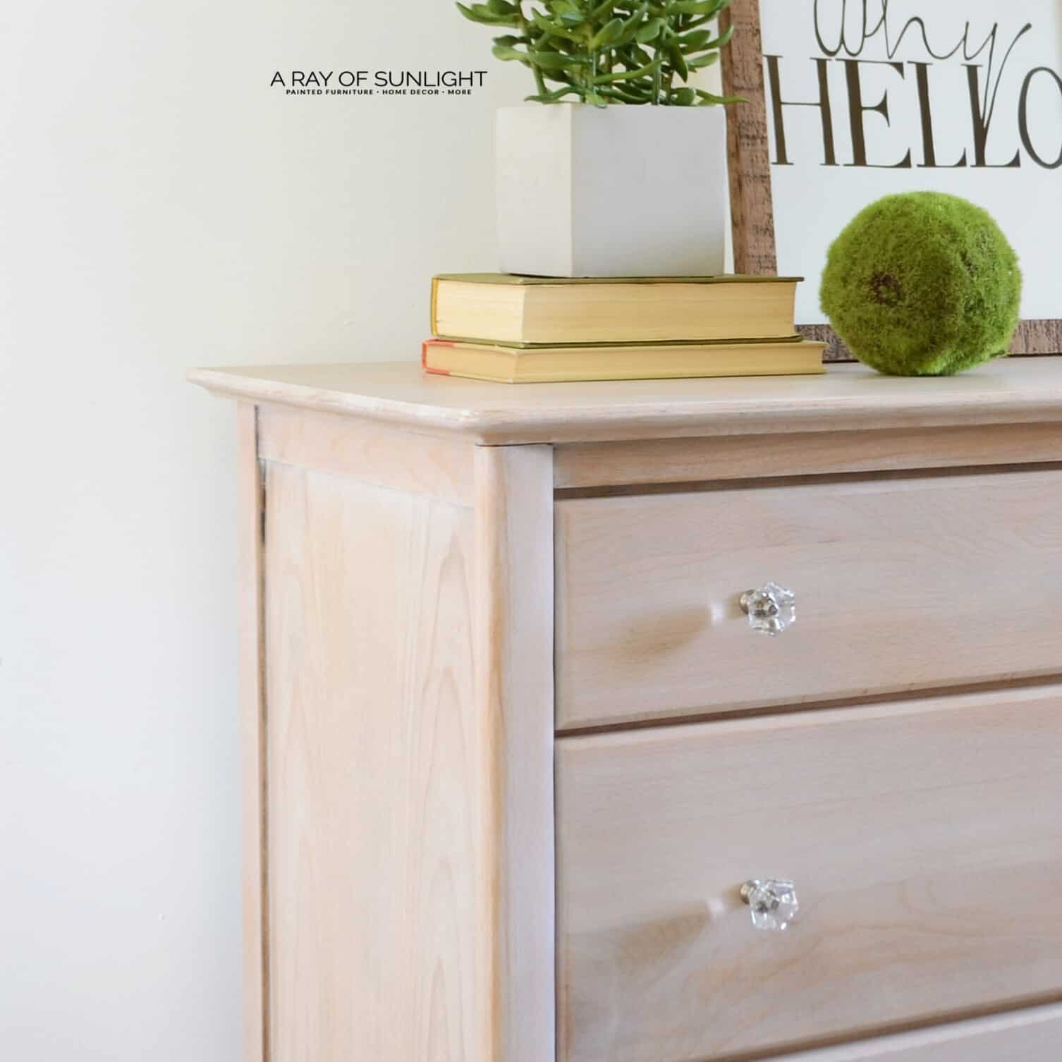 DIY Raw Wood Whitewashed Rustic Finish on Modern Pair of Nightstands by A Ray of Sunlight