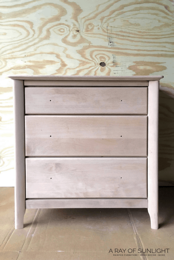 DIY Coastal Modern Natural Wood Whitewashed Finish on Modern Pair of Nightstands by A Ray of Sunlight