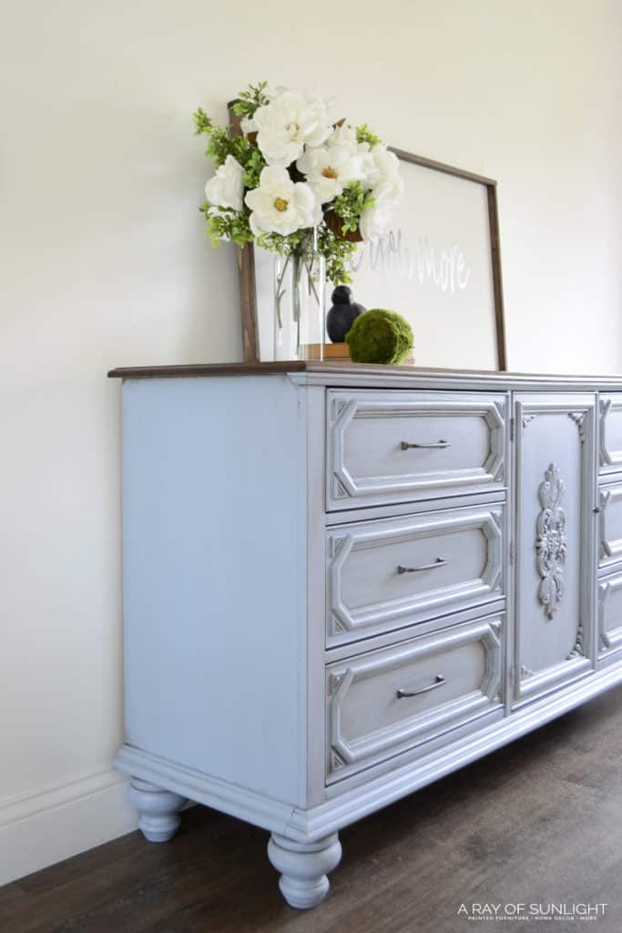 Side view: light blue farmhouse dresser with legs
