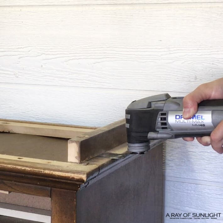 Cutting off the bottom of the dresser