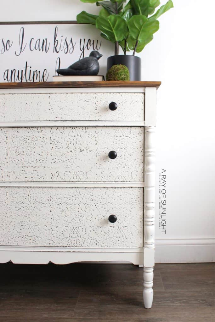 Creamy White Shabby Farmhouse Vintage Dresser with Textured Drawer Fronts and New Wood Walnut Stained Top | This dresser would be great as an entry table, sofa table, buffet, coffee bar, TV Stand or changing table in a nursery room. Its not just a dresser anymore!