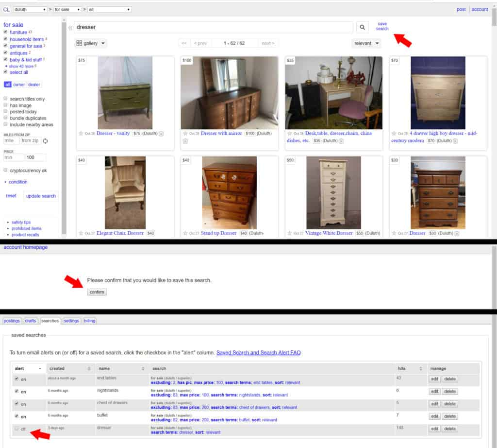 How to turn on notifications for craigslist ads so you can be the first to know when furniture is posted onto craigslist. Use these tips and tricks to find used furniture for your home!