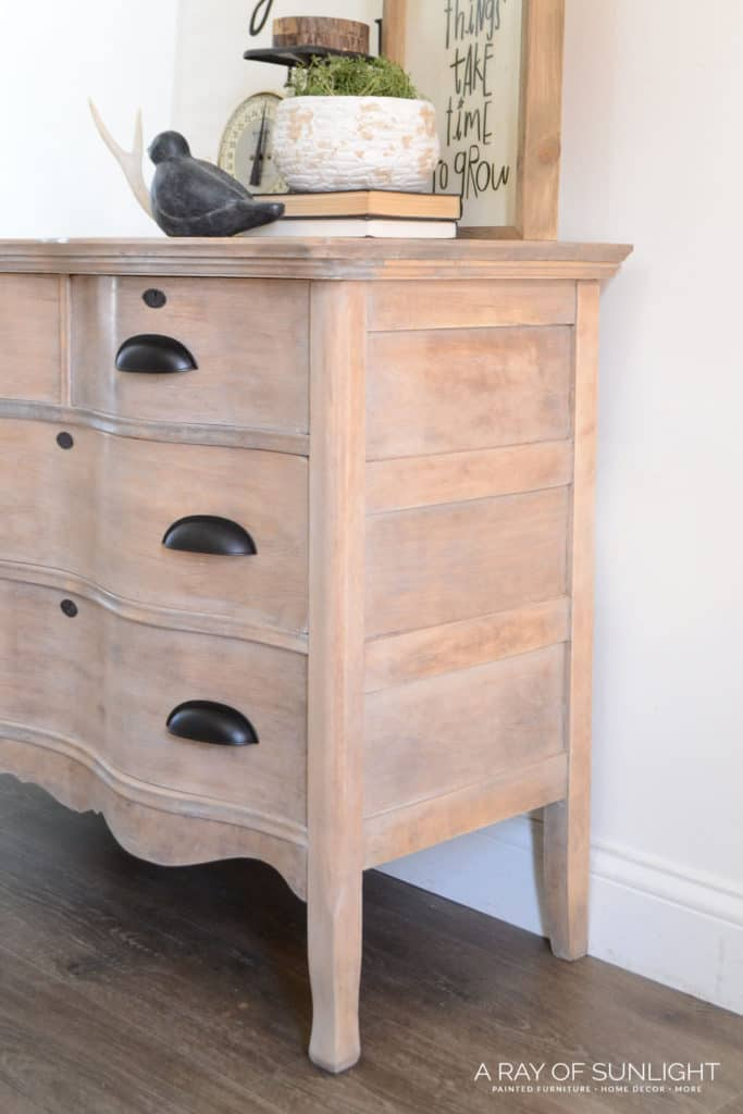 Sideview of Whitewashed Natural Wood Dresser