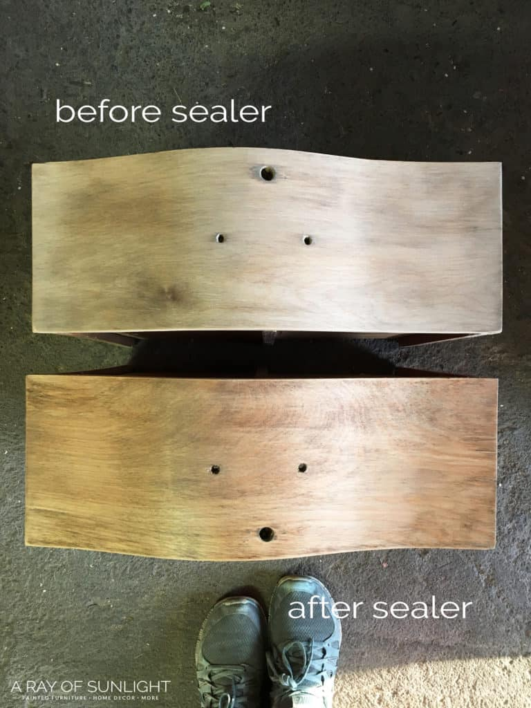 before and after sealing the raw wood