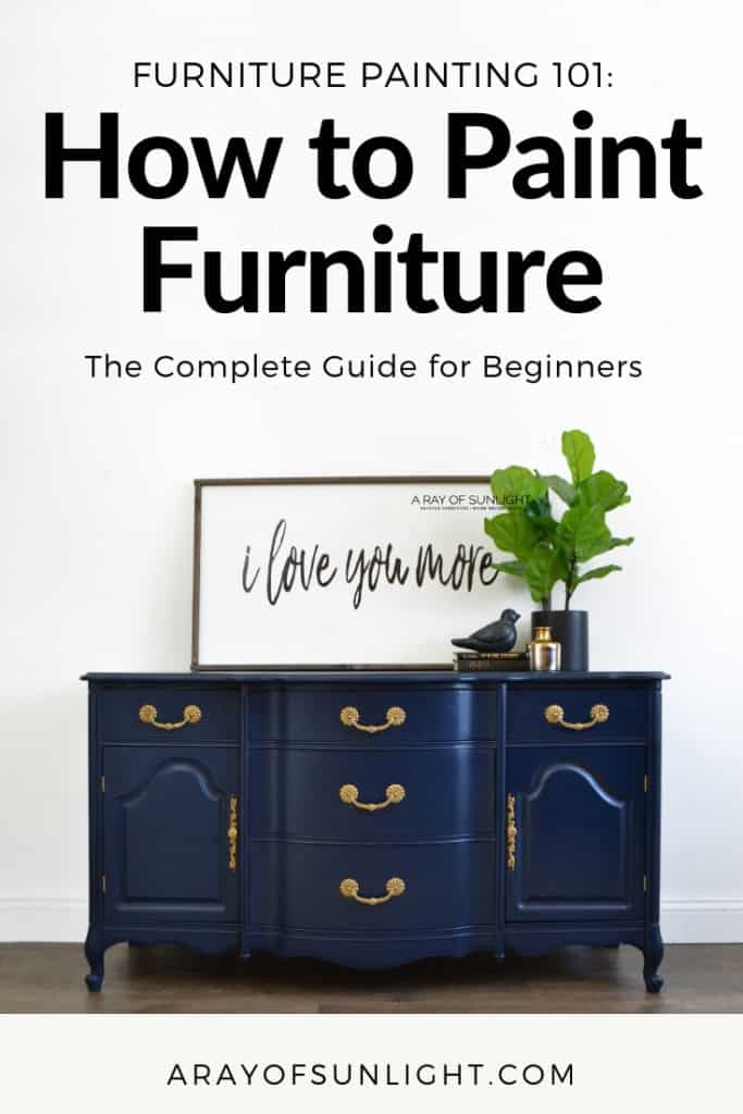 How to paint your old furniture - A step by step guide with the basics of painting furniture. Learn how to paint furniture like a pro and makeover that ugly bedroom, thrift store or old furniture the best way with chalk paint! By A Ray of Sunlight