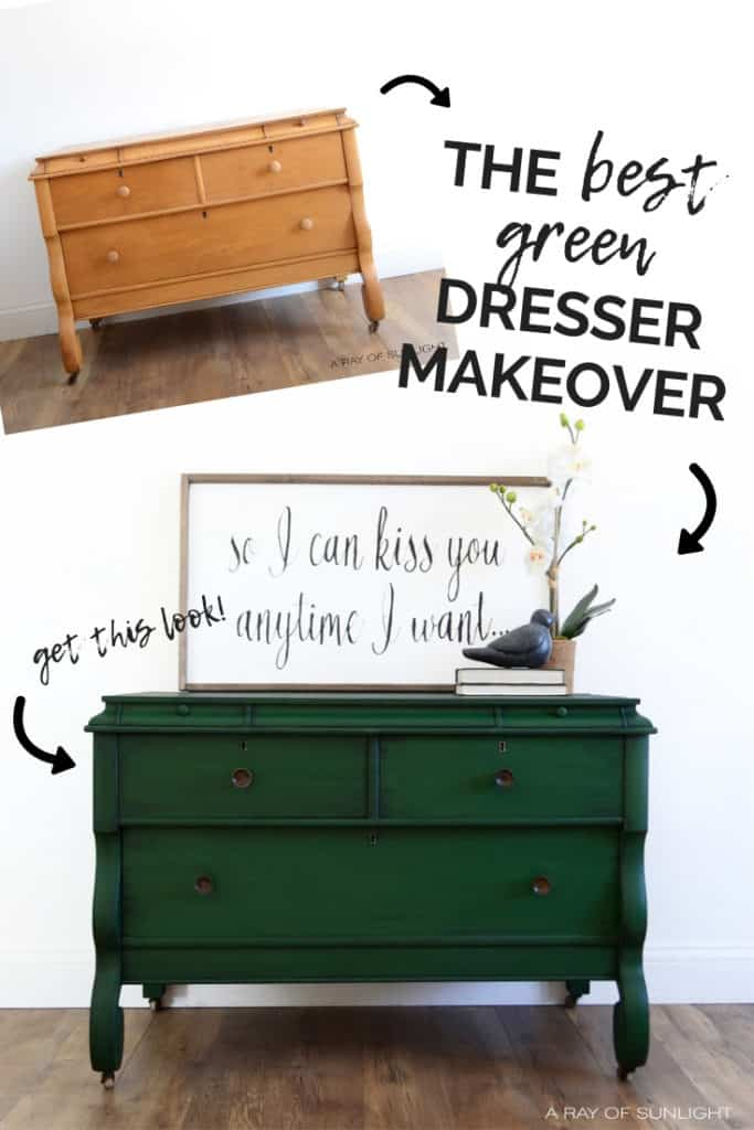 Green Painted Empire Dresser Makeover with Aged Brass Hardware - Painted Furniture by A Ray of Sunlight | How to Glaze Furniture with black glaze to create shadowing and design on your painted furniture. Glaze over chalk paint with black, brown, white or colored glaze instead of using wax! For this furniture project, we used Country Chic Paint products. Get this look on your bedroom or thrift finds!