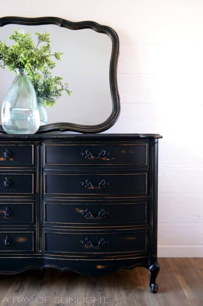 repaired and painted french provincial dresser