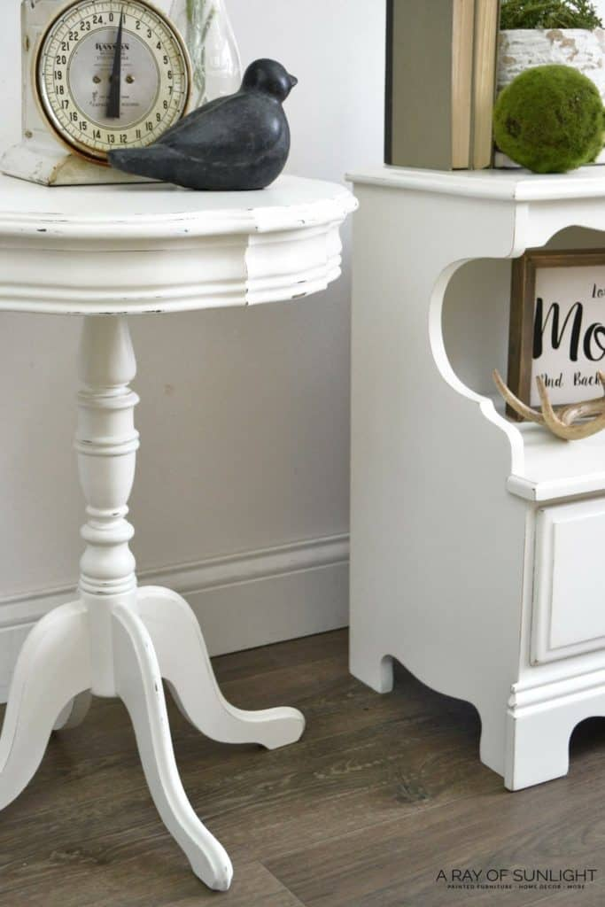 Painted end tables with fixed damage