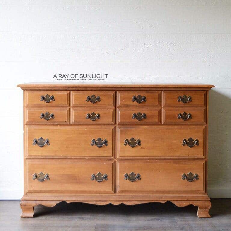 Before - Vintage long 6 drawer dresser