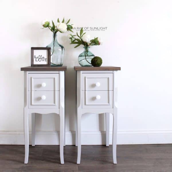 Gray DIY Nightstands with Wood Tops