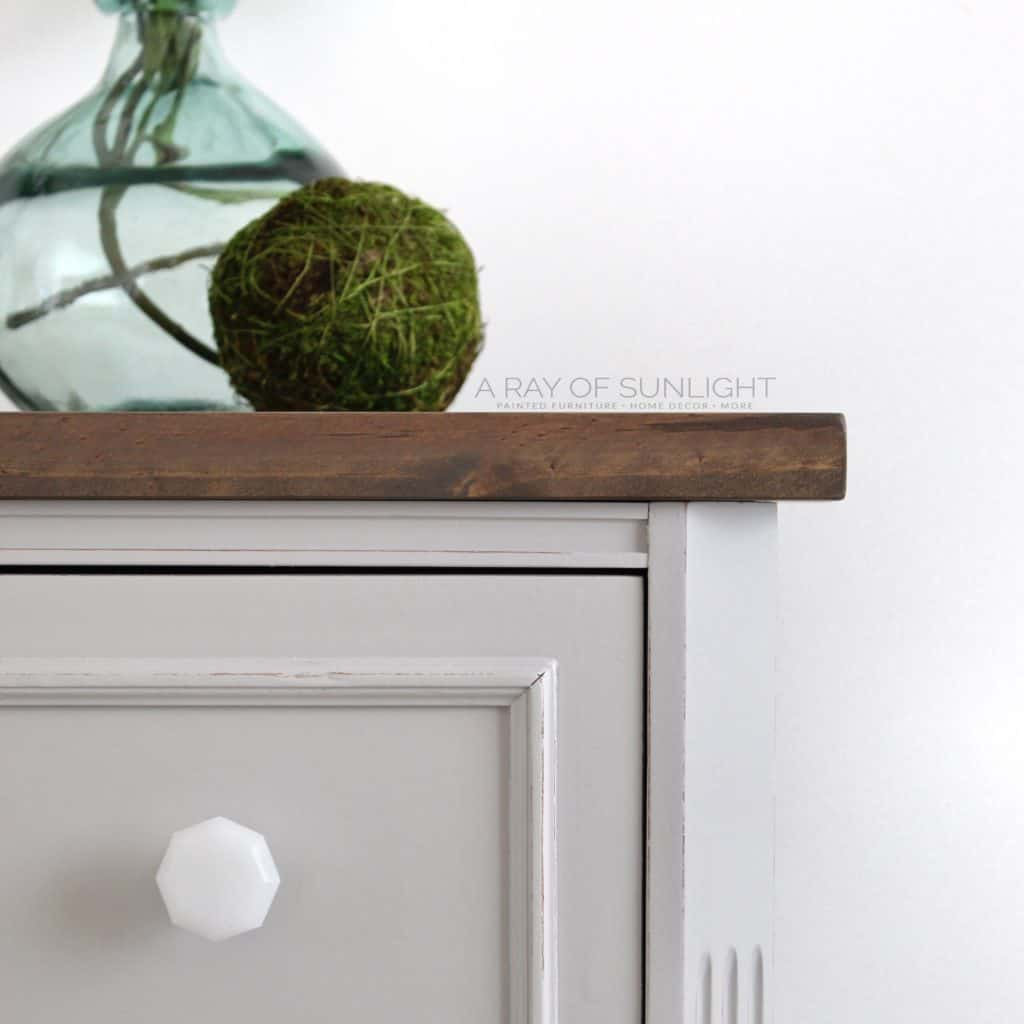 Closeup of Gray DIY Nightstand with Wood Top