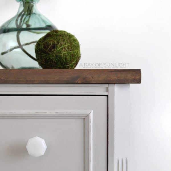 Closeup of Gray DIY Nightstand with Wood Top