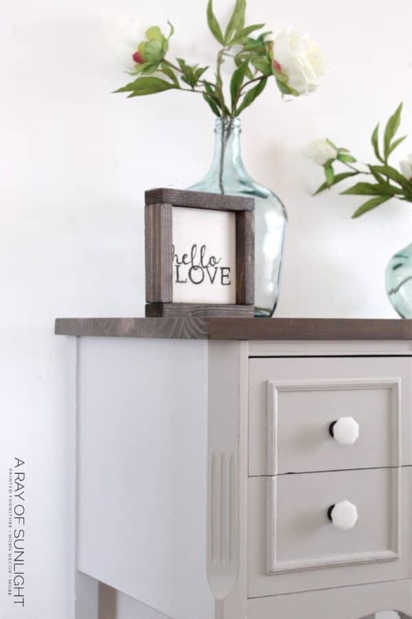 Gray DIY Nightstands with Wood Tops