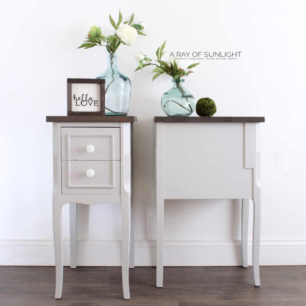 Side view of gray DIY nightstand