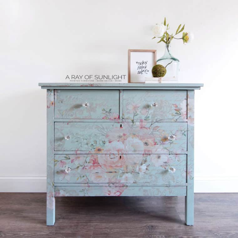 Easy DIY Teal Dresser with Floral Transfer
