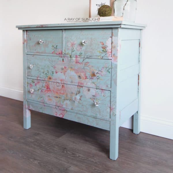 Right profile view of teal dresser