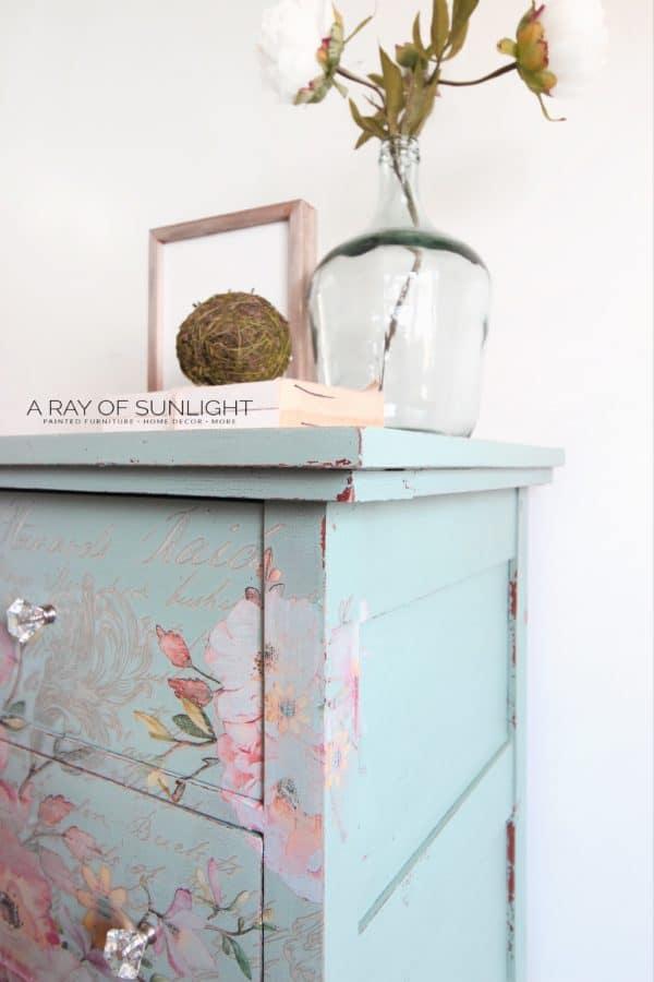 Right corner of teal dresser