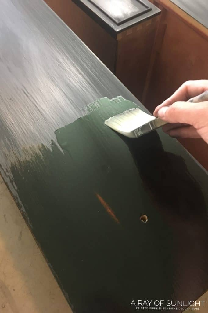 Applying Hemp Oil over Milk Paint with Brush