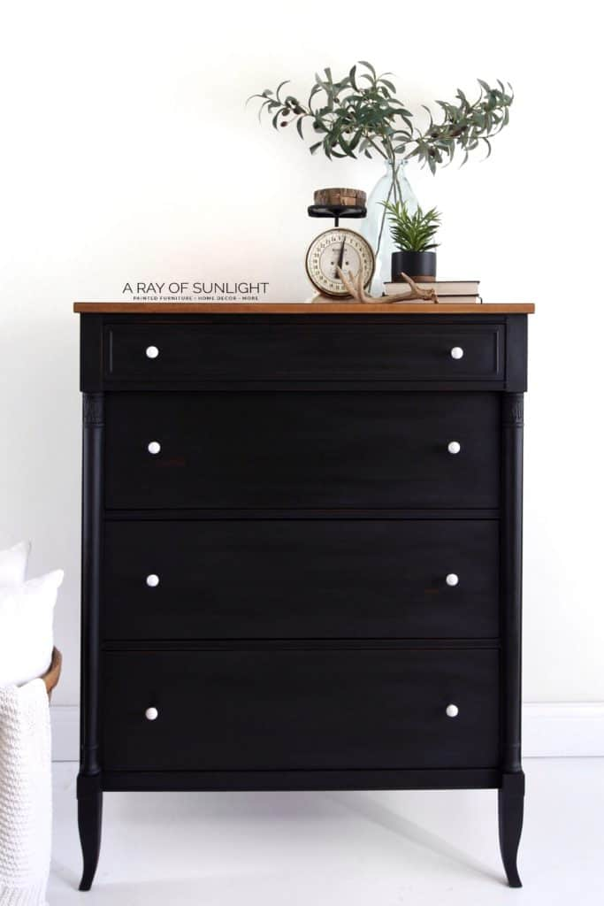 Black Tall Dresser with Wood Top